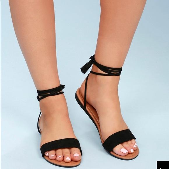 Lulu's Shoes - Black Suede Sandals